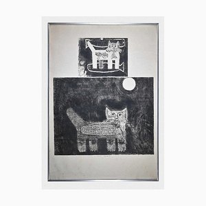 Gian Paolo Berto, Katzen, Original Radierung, 1974