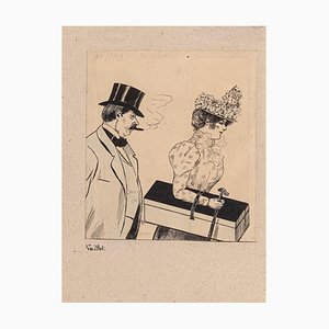 Louis Vallet, The Couple, Original China Ink and Watercolor Drawing, Early 1900s