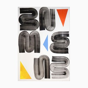 Minimalistische Malerei von einfachen geometrischen Formen in Primärfarben auf weißem Hintergrund, 2021