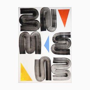 Pintura minimalista de formas geométricas simples en tonos primarios sobre fondo blanco, 2021