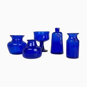Collection of Five Blue Vases by Erik Hoglund, Sweden, 1960s, Set of 5