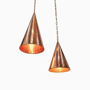 Danish Hammered Copper Cone Pendant Lamps by E. S. Horn Aalestrup, 1950s, Set of 2