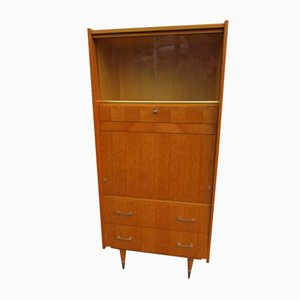 Vintage Showcase Cabinet in Blond Oak with Secretaire & Drawers, 1960s