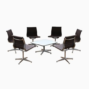Aluminium EA 106 Chairs and Table by Charles & Ray Eames for Herman Miller, Set of 7