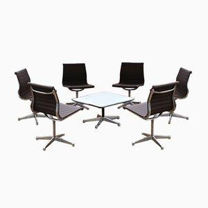 Chaises et Table EA 106 en Aluminium par Charles & Ray Eames pour Herman Miller, Set de 7