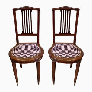 Art Deco Chairs in Solid Mahogany, Early 20th Century, Set of 2