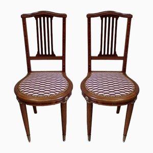 Art Deco Stühle aus Solidem Mahagoni, Frühes 20. Jahrhundert, 2er Set