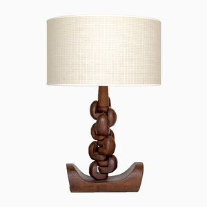 Vintage Sculptural Wooden Table Lamp, 1970s
