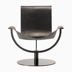 Bogenstuhl aus Schwarzem Leder von Martin Hirth für Favius