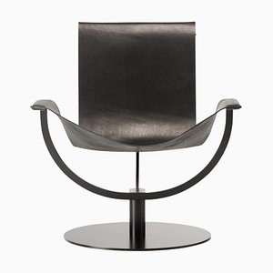 Chaise Arch en Cuir Noir par Martin Hirth pour Favius