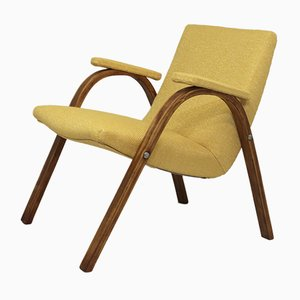 Vintage Bow Wood Armchair in Kenzo Fabric from Steiner, 1950s
