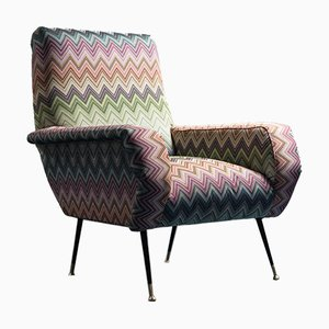 Vintage Armchair in Missoni Fabric by Marco Zanuso, 1960s