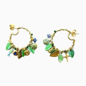 Sapphire, Topaz, Citrine, Chrysophrases, Quartz, Enamel and Gold Plated Hoop Earrings