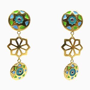 Enamel and Gold Plated Earrings