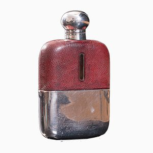 Antique English Leather, Glass and Silver Plated Hip Flask Celebration Gift, 1920