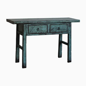 Blue Lacquer 2-Drawer Console