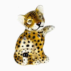 Vintage Ceramic Leopard Sculpture, Italy, 1960s