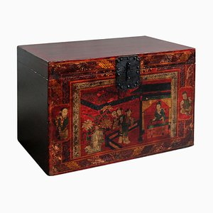 Red Painted Shanxi Opera Trunk