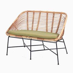 Vintage Rattan Lounge Sofa with Lime Green Cushion