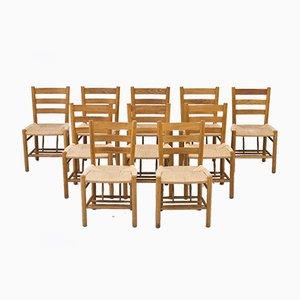 Oak & Paper Cord Church Chairs by Viggo Hardie-Fischer for Sorø Stolefabrik, Denmark, 1950s, Set of 10