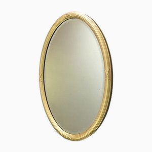 Antique Oval Gilt Bevelled Mirror with Reeded Frame, 1895s