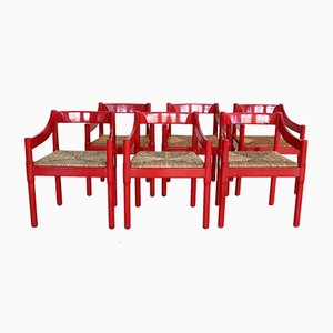 Vintage Red Carimate Chairs in Oak & Rushes by Vico Magistretti for Cassina, 1960s