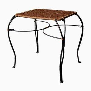 Skandinavischer Vintage Weintisch aus Rattan und Schwarzem Eisen