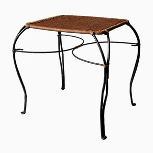 Vintage Scandinavian Rattan and Black Iron Wine Table