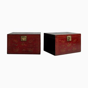 Antique Red Painted Chests, Set of 2
