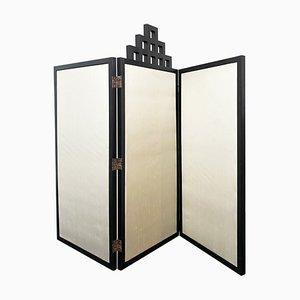 Art Nouveau Raumteiler aus Seide & ebonisiertem Holz