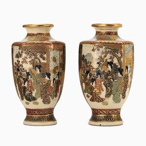 Small Japanese Meiji Period Satsuma Vases by Hododa, 1890s, Set of 2