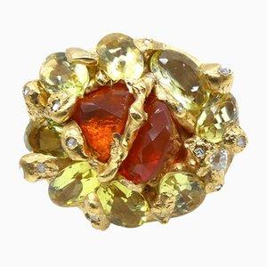 Feueropal, Citrine, 0,32 Karat Diamanten und Vergoldeter Cocktail Ring