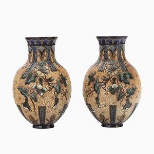 Steingut Vasen von Edith Lupton für Doulton Lambeth, 1886, 2er Set