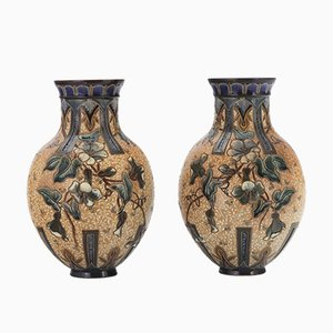 Stoneware Vases by Edith Lupton for Doulton Lambeth, 1886, Set of 2