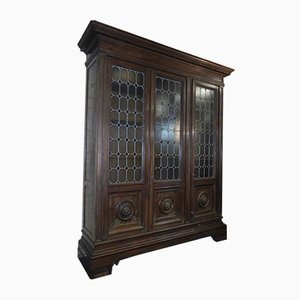 Walnut and Lead Glass Bookcase, Italy, 1950s
