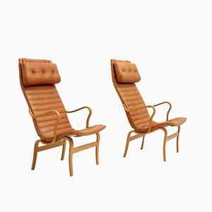 Eva Armlehnstühle mit Hoher Rückenlehne von Bruno Mathsson für Dux, 1970er, 2er Set