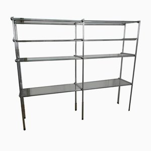 Shelf in Chromed Metal and Glass, 1970s