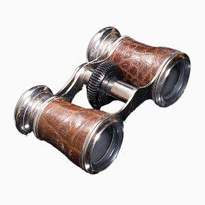 Antique English Edwardian Leather Opera Glasses Theatre Binocular