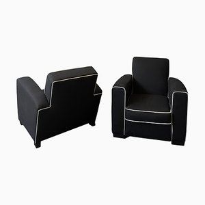 Art Deco Club Armchairs by Jacques Adnet, Set of 2