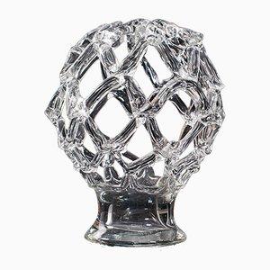 Big Vintage Continental Decorative Art Glass Candle Bowl Centrepiece, 1980