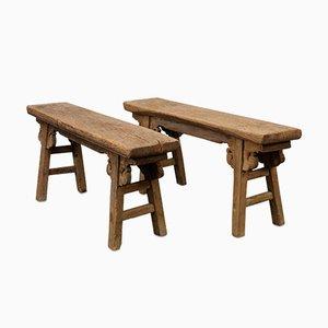 Antique Elm Benches, Set of 2