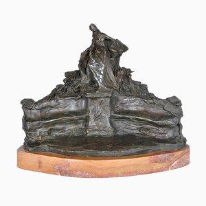 René de Saint-Marceaux, Study for Monument, Signed Bronze Sculpture, 19th Century