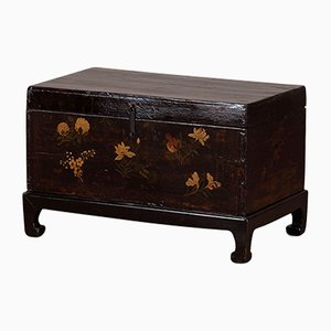 Black Painted Blanket Chest on Stand