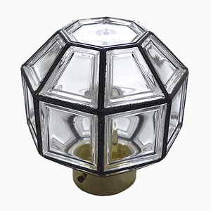 Ceiling Lamp in Iron & Clear Glass from Limburg, 1960s