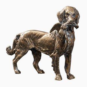 Ornamento decorativo antico vittoriano in ottone raffigurante un cane, Regno Unito