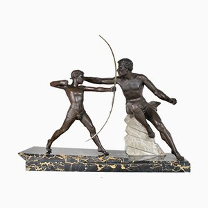 Large Signed Art Deco Archer Sculpture by Limousin, 20th Century