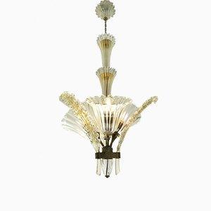 3-Leuchten Deckenlampe von Archimede Seguso für Seguso, 1930er