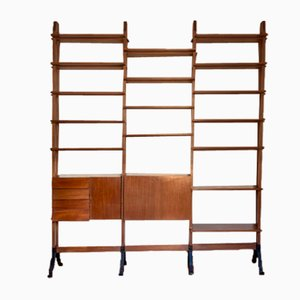 Bookcase in Wood and Iron in the Style of Gianfranco Frattini, Italy, 1950s