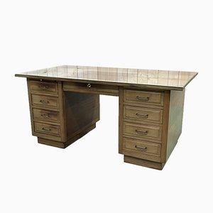 Art Deco Mahogany Desk with Glass Top