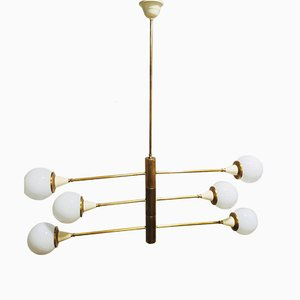 Brass Chandelier with Spheres in Opal, 1960s